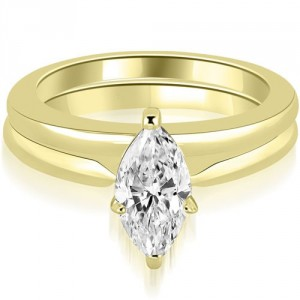 0.75 cttw. Gold Classic Solitaire Marquise Cut Diamond Bridal Set - Handcrafted By Name My Rings™