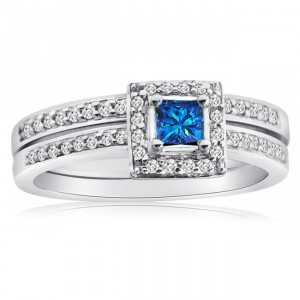 Gold 1/2ct TDW Blue and White Diamond Halo Bridal Ring Set - Handcrafted By Name My Rings™