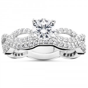 White Gold 1 ct TDW Diamond Engagement Infinity Ring Set - Handcrafted By Name My Rings™