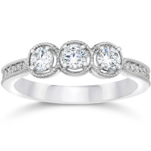 White Gold 1/2ct TDW Vintage 3-stone Diamond Engagement Ring - Handcrafted By Name My Rings™