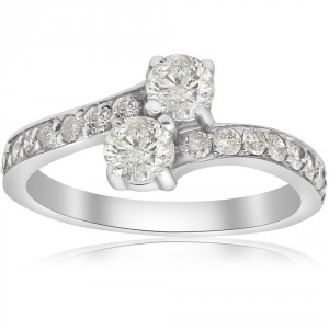 White Gold 1cttw TDW Two Stone Engagement Diamond Ring - Handcrafted By Name My Rings™