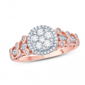 1/2 Carat Round Diamond Composite Floral Shape Enagagement Ring In Rose Gold. - Handcrafted By Name My Rings™