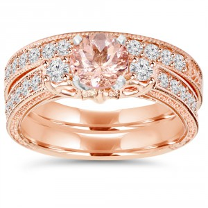 Rose Gold 2 CT TW Vintage Diamond & Morganite Engagement Wedding Ring Set - Handcrafted By Name My Rings™