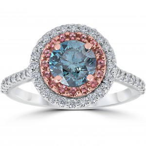 White & Rose Gold 1 5/8 ct TDW Blue & White Diamond Pink Topaz Double Halo Engagement Ring - Handcrafted By Name My Rings™