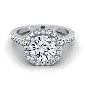 White Gold 1 1/3ct TDW Round Diamond Octagon Halo Engagement Ring - Handcrafted By Name My Rings™
