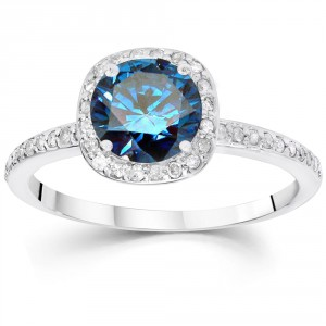 White Gold 1 1/4ct TDW Blue and White Diamond Halo Engagement Ring - Handcrafted By Name My Rings™
