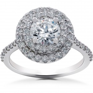 White Gold 1 5/8ct TDW Halo Eco-Friendly Lab Grown Diamond Engagement Ring - Handcrafted By Name My Rings™