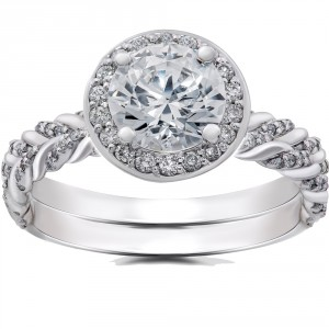 White Gold 1 ct Lab Grown Diamond Vintage Braided Halo Engagement Ring & Matching Band - Handcrafted By Name My Rings™