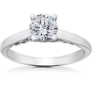 White Gold 1/2 ct TDW Lab Grown Eco Friendly Diamond Gabriella Vintage Accent Engagement Ring - Handcrafted By Name My Rings™