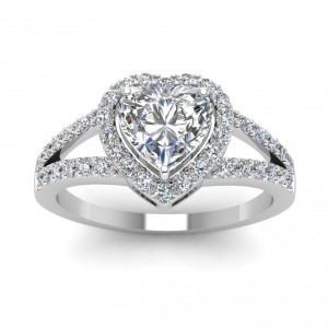 White Gold 1/2ct Heart-cut Diamond Engagement Rings by Fascinating Diamonds - Handcrafted By Name My Rings™