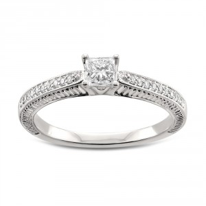 White Gold 1/2ct TDW Princess-cut White Diamond Engagement Ring - Handcrafted By Name My Rings™