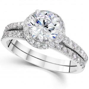 White Gold 2 4/5ct TDW Clarity Enhanced Diamond Halo Engagement Wedding Ring Set - Handcrafted By Name My Rings™