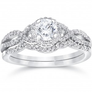 White Gold 3/4ct TDW Diamond Infinity Halo Engagement Wedding Ring Set - Handcrafted By Name My Rings™