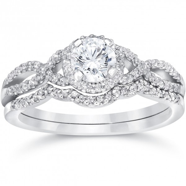 White Gold 3/4ct TDW Diamond Infinity Halo Engagement Wedding Ring Set    Handcrafted By Name My Rings™