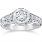 White Gold 5/8ct TDW Diamond Vintage Engagement Ring - Handcrafted By Name My Rings™