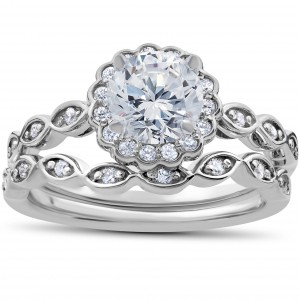 White Gold 7/8 ct TDW Vintage Halo Diamond Engagement Ring & Matching Wedding Band Set - Handcrafted By Name My Rings™