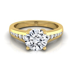 Gold 5/8ct TDW White Diamond Channel Engagement Ring - Handcrafted By Name My Rings™