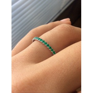 Emerald Band Full Eternity In White Gold Green Birthstone - 2mm Stacking Band - Handcrafted By Name My Rings™
