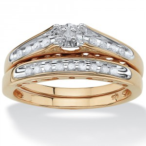 Gold/Silver 1/5 TCW Round Diamond Channel-Set Two-Piece Bridal Set - Handcrafted By Name My Rings™