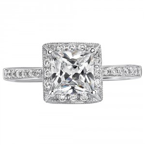 White Gold 1ct TDW Certified Princess Diamond Engagement Ring - Handcrafted By Name My Rings™