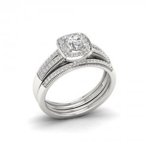 2/5ct TDW Diamond Bridal Set in Sterling Silver - Handcrafted By Name My Rings™