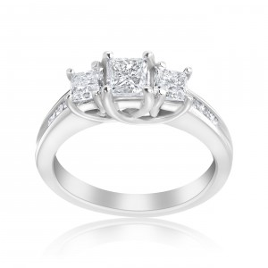 White Gold 1 1/2ct TDW 3-stone Diamond Princess Ring - Handcrafted By Name My Rings™