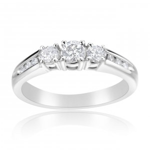 White Gold 1/2ct TDW Diamond 3-stone Ring - Handcrafted By Name My Rings™