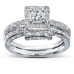 White Gold 5/8ct TDW Diamond Bridal Ring Set - Handcrafted By Name My Rings™