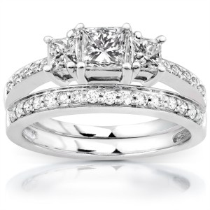 Gold 1 1/6ct TDW Princess Diamond Bridal Set - Handcrafted By Name My Rings™