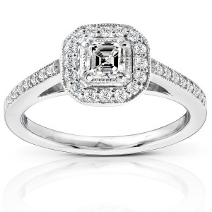 Gold 1/2ct TDW Asscher Diamond Halo Ring - Handcrafted By Name My Rings™
