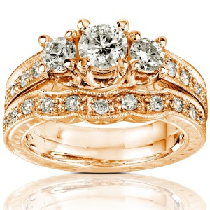 Gold 1ct Round Brilliant Diamond Bridal Set - Handcrafted By Name My Rings™