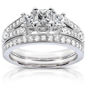 Gold 1ct TDW Princess-cut Diamond Bridal Set - Handcrafted By Name My Rings™