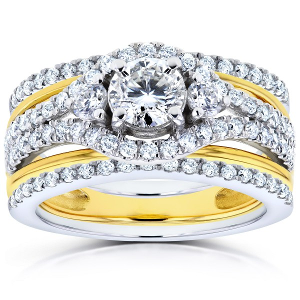 Two Tone Gold 1 3ct Tdw Diamond Double Band Wedding Set Handcrafted By Name My Rings