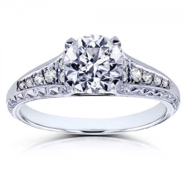 444b2cd7be989 White Gold 1 1/10ct TDW Diamond Vintage Engagement Ring - Handcrafted By  Name My Rings™