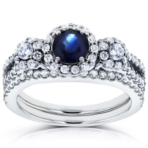 White Gold 1 1/5ct TCW Sapphire and Diamond 2 Piece Bridal Rings Set - Handcrafted By Name My Rings™