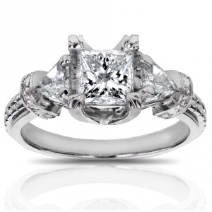White Gold 1 3/4ct TDW Certified Princess and Triangular Diamond Engagement R - Handcrafted By Name My Rings™