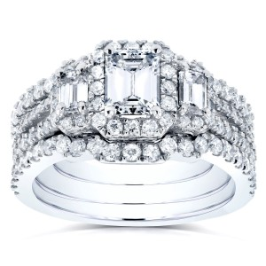White Gold 1 3/4ct TDW Diamond Bridal Ring Set - Handcrafted By Name My Rings™