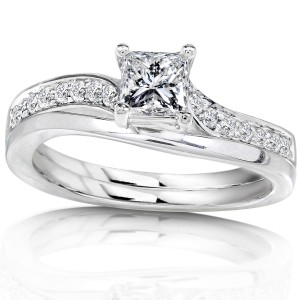 White Gold 1/2ct TDW Diamond Bridal Ring Set - Handcrafted By Name My Rings™