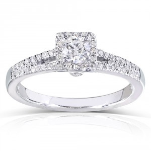 White Gold 1/3ct TDW Round-cut Diamond Promise Ring - Handcrafted By Name My Rings™