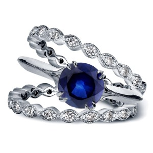 White Gold 1ct Blue Sapphire and 3/4ct TDW Diamond Double Eternity Band Set - Handcrafted By Name My Rings™