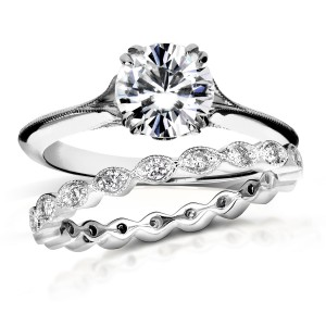 White Gold 1ct Brilliant Moissanite and 2/5ct TDW Diamond Floral Antique Bridal Set - Handcrafted By Name My Rings™