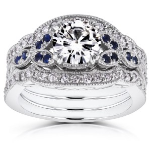 White Gold 1ct Moissanite Blue Sapphire and 1/2ct TDW Diamond Vintage Floral 3-Piece Bri - Handcrafted By Name My Rings™