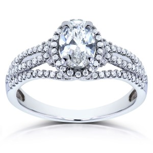 White Gold 1ct TDW Certified Oval Diamond Ring - Handcrafted By Name My Rings™