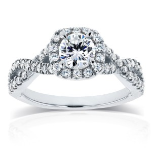 White Gold 1ct TDW Diamond Crossover Halo Engagement Ring - Handcrafted By Name My Rings™