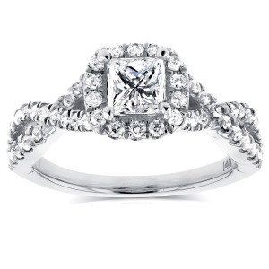 White Gold 1ct TDW Princess Diamond Halo Crossover Engagement Ring - Handcrafted By Name My Rings™