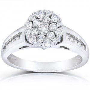 White Gold 3/4ct TDW Multi Stone Round Diamond Ring - Handcrafted By Name My Rings™