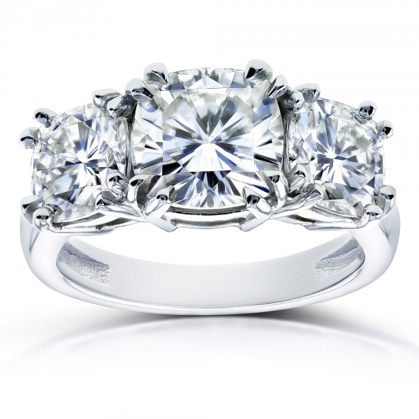 White Gold 4 1 5ct Tgw Forever One Moissanite Cushion Cut 3 Stone Engagement Ring Handcrafted By Name My Rings