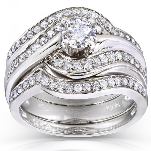 White Gold 7 8ct Tdw Round Diamond 3 Piece Bridal Rings Set Handcrafted By Name My Rings
