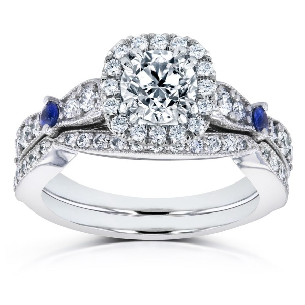 e8ce5f6ee0c White Gold Blue Sapphire and 1 5 8ct TDW Diamond Halo Antique Two Piece  Bridal Set - Handcrafted By Name My Rings™