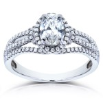 White Gold Certified Oval 1ct TDW Diamond Ring - Handcrafted By Name My Rings™